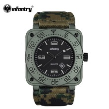 INFANTRY Mens Quartz-watches Top Brand Luxury Aviator Military Watches Green Army Leather Waterproof Male Relogio Masculino(Hong Kong)