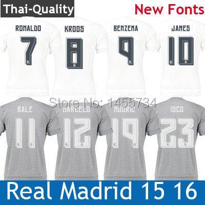 2015 2016 Real Madrid Soccer Jerseys Sergio Ramos Kroos Benzema Isco Cristiano Ronaldo Real Madrid Football Camiseta Maillot(China (Mainland))