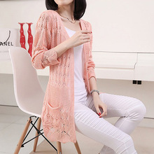 Summer spring fall Cardigan Women casual Sweet Crochet Knitted Blouse Long-sleeve Tops Women long Sweaters hollow Cardigans(China (Mainland))