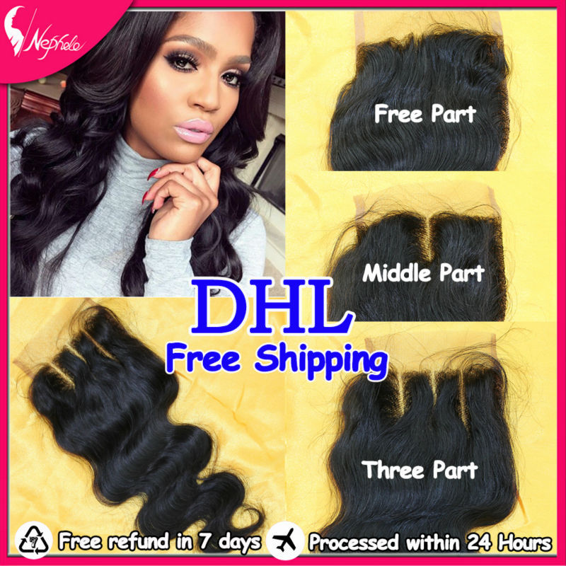 Fast Shipping 7A Brazilian Lace Closure Virgin Hair Body Wave Wavy 4 inchx4 inch Front Top Baby Bleached Knots - Alivera Official Store store