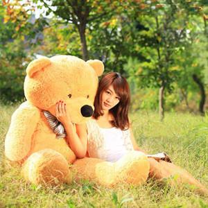 100 Cotton Light Brown Giant 100cm Cute Plush Teddy Bear Huge Soft Toy(China (Mainland))