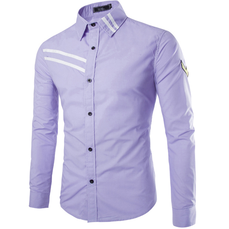 2015 high quality shirt striped designer solid color