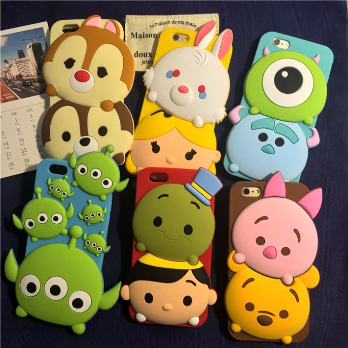 2015 New 3D Cartoon Squirrel Stitch Silicone Rubber Back Covers iphone 5s 6 plus case 3DHL