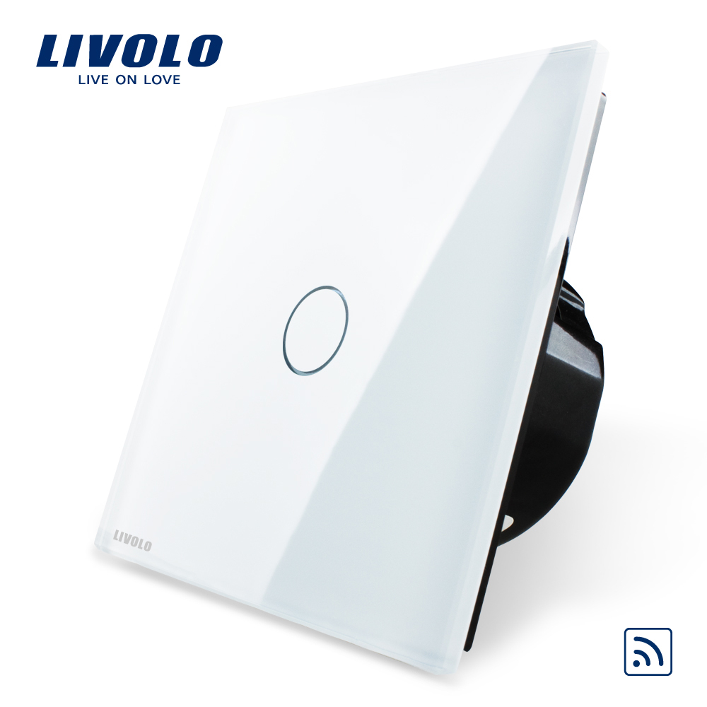 Free Shipping, Livolo EU Standard Remote Switch, White Crystal Glass Panel, 220~250V Wall Light Remote Touch Switch VL-C701R-11(China (Mainland))