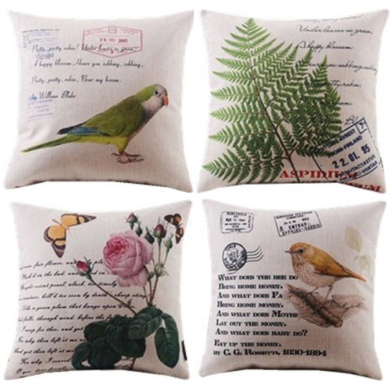 new 4pcs plants leaf bird floral decorative cushion cover throw pillow case cotton and linen classical