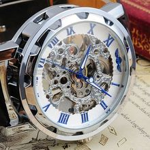 Fashion Blue Relogio Masculino White Dial Skeleton Black Leather Strap Stainless Steel Men Mechanical Hand Wind Watch