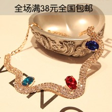 Fashion personality full rhinestone necklace female chain necklace 3 #N026(China (Mainland))