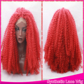 Synthetic Cosplay Wig Heat Resistant Kinky Curly Lace Front Glueless Red Fiber Hair Middle Part Afro