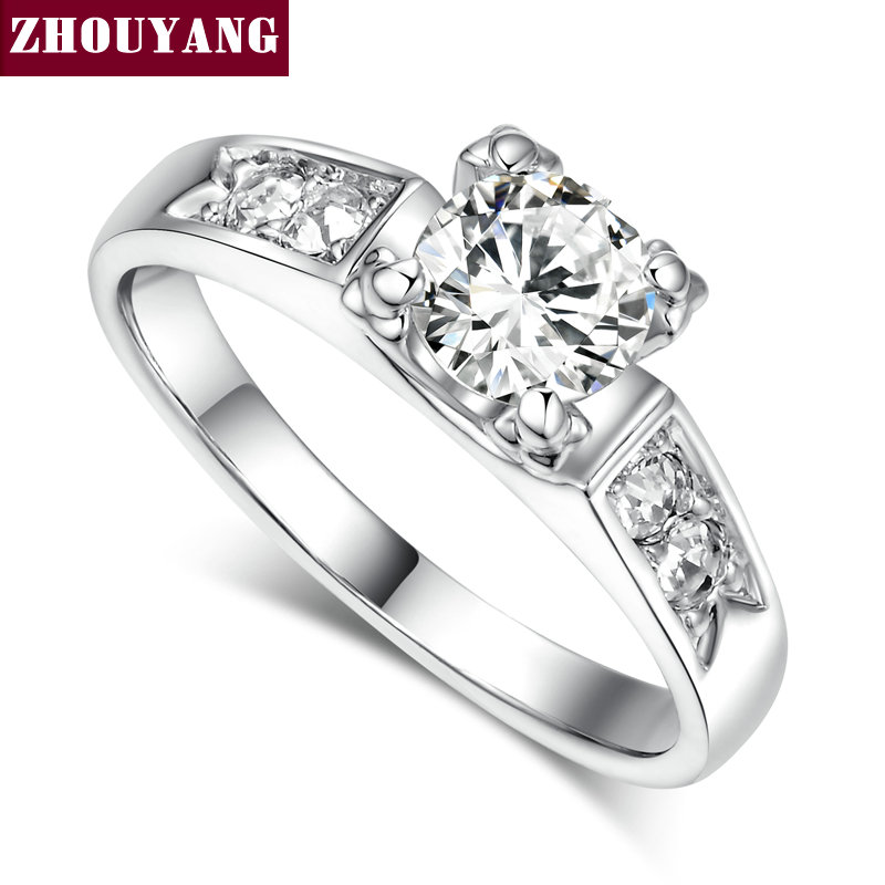 top quality zyr052 classic crystal ring k white gold plated wedding