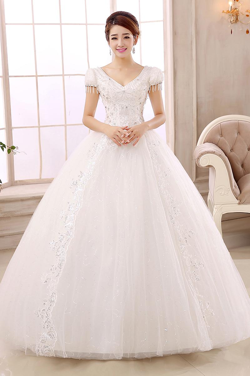Buy 2014 luxury rhinestone lace princess for Puff sleeve wedding dress