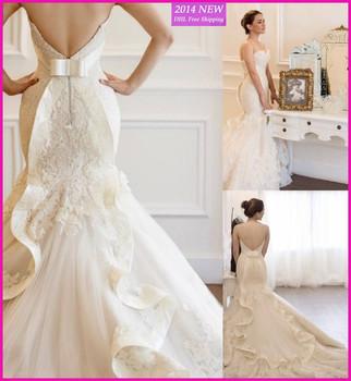 Vestido де Noiva 2015 новый русалка свадебные платья кружева невесты платье милая рукавов халат де Mariage заказ UV-231