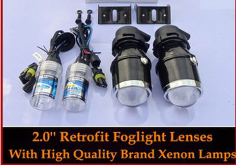 2014 Car styling Universal HID Fog Lights Retrofit Projector Lenses+ Xenon Bulbs Lamps 4300K 6000K 8000K 10000K - JSH AUTO LIGHTING CO.,LTD store