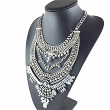 2015 New fashion Silver Chain Long Crystal Necklace Pendant Exaggeration statement Necklace accessories vintage jewelry