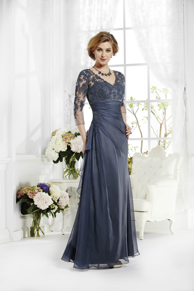 2015 vintage navy blue mother of the bride groom dresses 3 for Long dress for wedding mother of the bride