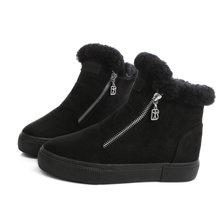 Thương hiệu Phụ Nữ Boots Nữ Giày Mùa Đông Phụ Nữ Ấm Tuyết Boots Thời Trang Suede Fur Mắt Cá Chân Màu Đen Xám Kích Thước 35-40(China)