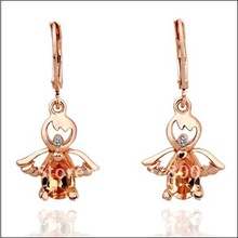 Wholesale Fashion Jewelry 18K RGP Rose Inlaid zircon crystal drop earrings free shipping 10pair/lot(China (Mainland))