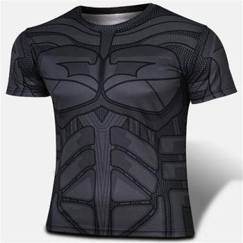 2016 new compressed t-shirts hot seen superman/batman t shirt men sports quick dry fitness clothing Captain America sportswear