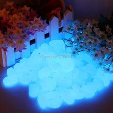 33 unids/lote hermosa nueva decorativo grava para su Fantastic jardín o Yard 33 Glow in the Dark Pebbles Stones para pasarela azul(China (Mainland))