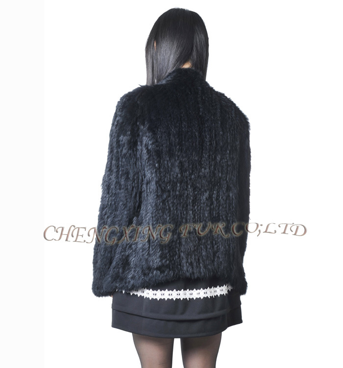 CX-G-A-168 Knitted Women 2015 Fashion Genuine Rabbit Fur Coat