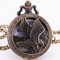 Eagle Embossed Men Pocket Watch Quartz Game of Thrones Hollow Badge Bronze Copper With Chain Box