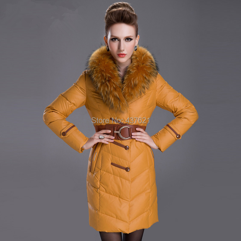 SkinnwilleNew 2015 Women winter thickening large real raccoon fur collar slim medium-long coat ladies brand jackets - Happy Time Store 437621 store