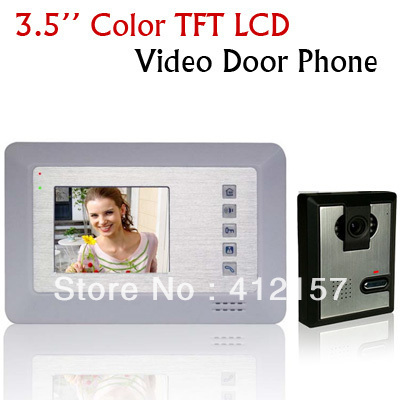 "Home Security 3.5"" TFT LCD Monitor Color Camera Video Kit Video Door Bell Phone Intercom System free shipping"
