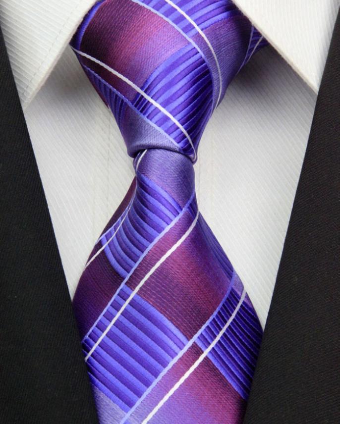 NT0326 Purple Royal Stripe Man s Jacquard Woven Silk Polyester Tie Classic Business Party Wedding Fashion
