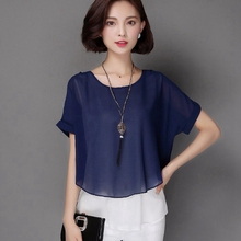 2016 New Summer Women Chiffon Blouse Plus Size Blusas Shirts Female Blouses Short Sleeve Cheap China Clothes Casual Shirt Tops