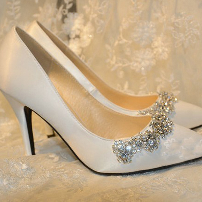 Aliexpress Buy 2015 New Arrival Rhinestone Wedding Shoes White Satin Pointed Toe Bridal
