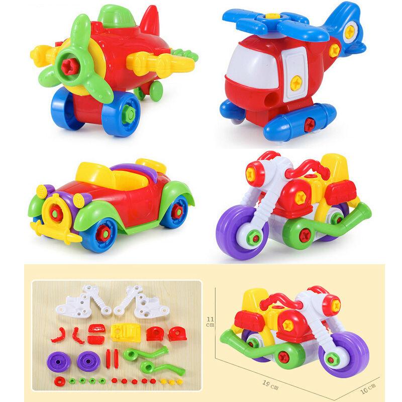 Пластиковые блоки ломать съемный автомобилей самолет детские раннего детства поделки гайку сборка игрушки для детей