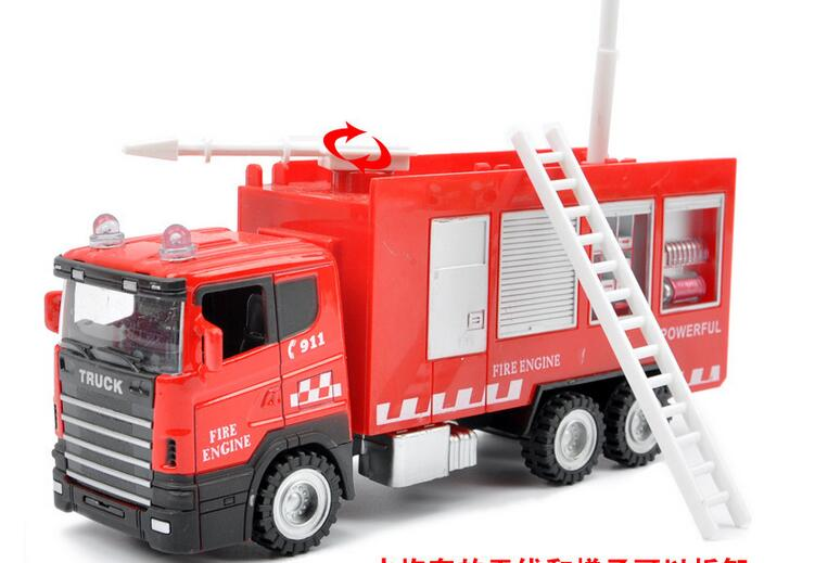 Discount Alloy Fire Truck Wheel Toys Model Cars Children Gifts Water Tanker Ladder truck Alloy Pull Back Kids Car 6990 B01Y29(China (Mainland))