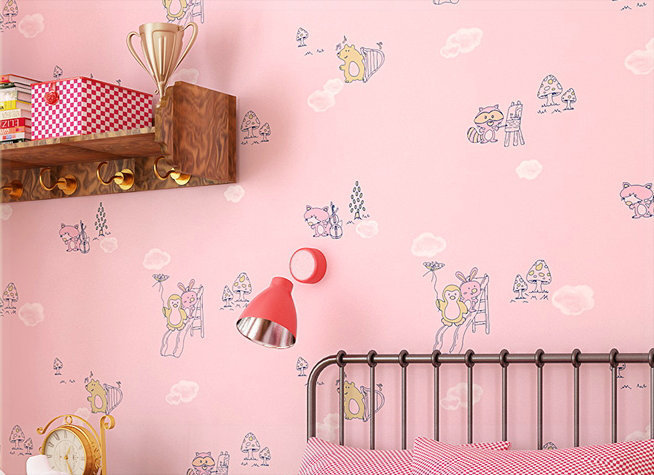 Eco-friendly non-woven brief modern cartoon small fox bedroom wall 0.53MX10M 3d wall panels modern cellophane roll(China (Mainland))