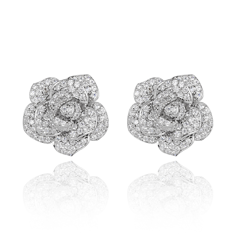 Classic Silver Full Prong Cubic Zirconia Cluster Rose Ear Studs 3D Flower Wedding Stud Earrings for Women(China (Mainland))