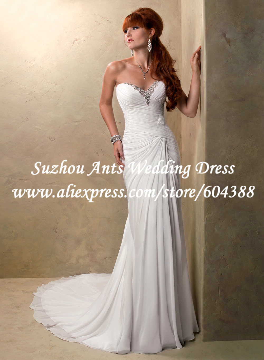 Free shipping beading pleat low back sweetheart beach for Free wedding dresses low income