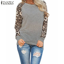 Zanzea Fashion Blusas 2016 New Women Ladies Spring Autumn Long Sleeve Leopard Loose Casual Tees Tops T Shirt Plus Size M-3XL(China (Mainland))