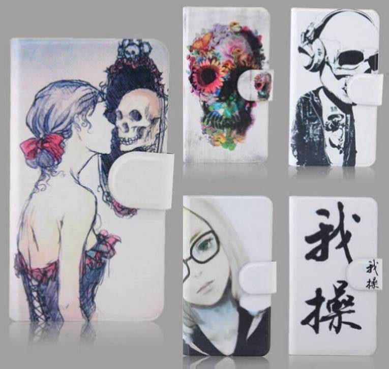 2015 new skeleton Personality Unique Card slot PU Leather Flip Case Cover For Samsung OMNIA M S7530 S759(China (Mainland))