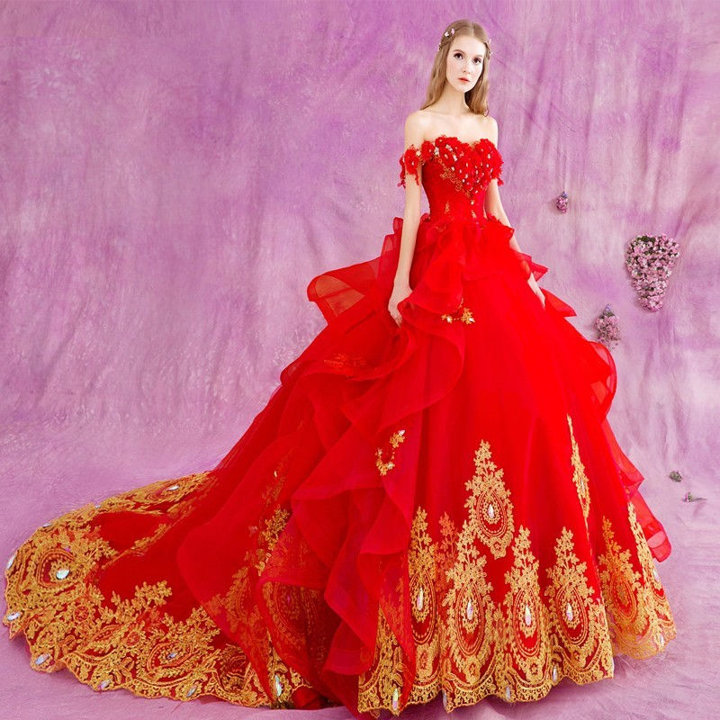 Luxury Red Ball Gown Wedding Dresses With Gold Lace Applique Crystals 2016 Sexy Off Shoulder Princess Bride Bridal Gown(China (Mainland))