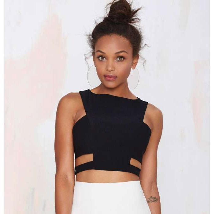 Free Shipping New Summer 2015 Sexy Black Woman's Elastic Cut Out Bandage Crop Tops(China (Mainland))