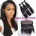 Peruvian Straight Hair With Frontal 3 Bundles Wonder Beauty Virgin Human Hair With Free Part Middle