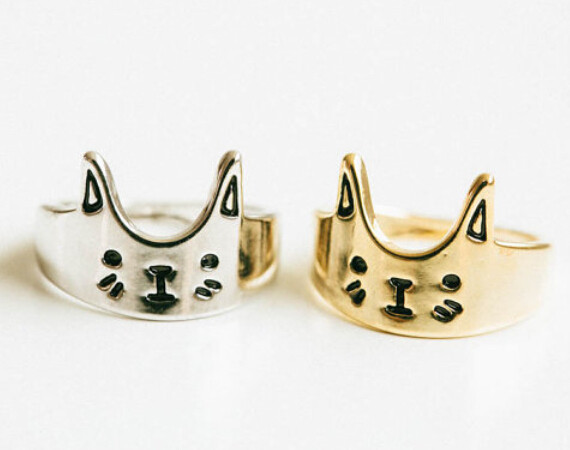 New 2015 Zinc Alloy Gold Silver Kltty Cat Sons Of Anarchy Ring 10pcs/lot for Women Fashion Jewelry Free Shipping(China (Mainland))