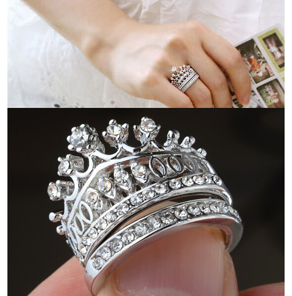 1Set New Hot Fashion Crystal Rhinestone Imperial Crown Circle Wedding rings Set Women Jewelry Quality Xmas Gift Drop Free - Yiwu Ino E-Commerce Co., Ltd. store