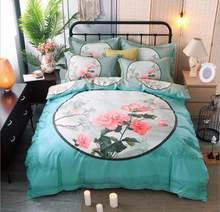 Bohemia Bedding Sets King Queen Size 4Pcs Peacock Flowers Printed Duvet Cover Set Flat Sheet Pillowcase Cotton Home Decoration(China)