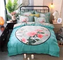 Flower Print Bedding Set Cotton 4pcs Princess Quilt Cover King Queen Size Home decoration Bedclothes Bed Sheet Set Pillowcases(China)