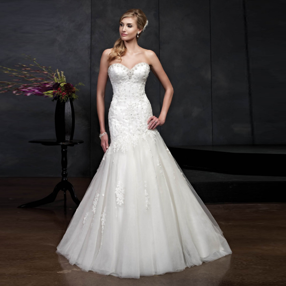 Trumpet Wedding Dress Tulle : Aliexpress buy elegant trumpet floor length tulle