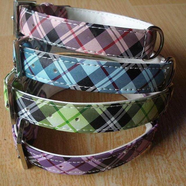 Dog Collar Size M(2X43cm) Cool Check Print Dog Collar Pets Collar 4Colours Available
