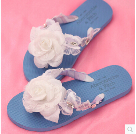 Big white flower flip flops for woman 2015 new fashion blue rhinestone flats woman's summer shoes hot sale(China (Mainland))