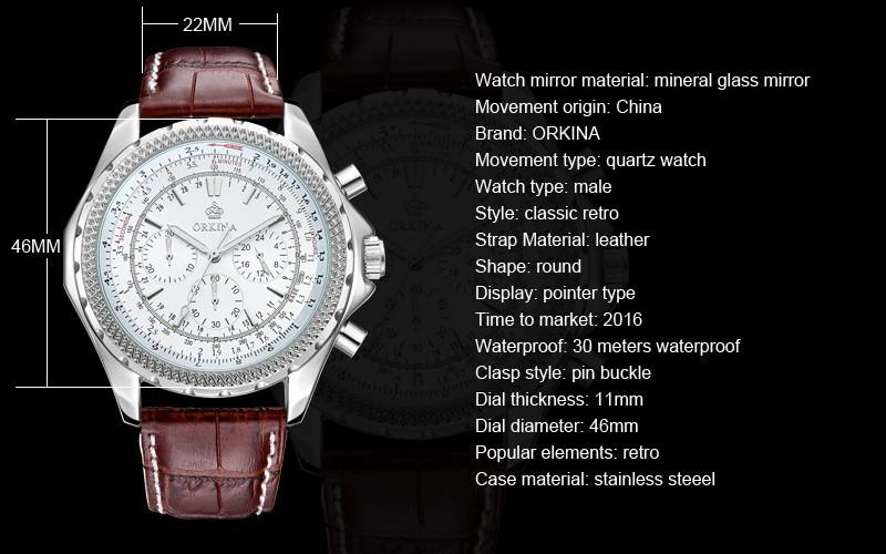 ГОРЯЧЕЙ ORKINA марка кожаный ремень кварцевые часы fashion бизнес таблица водонепроницаемый человек часы 2016 люксовый бренд черные часы