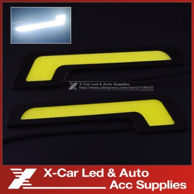 2 Pcs/Lot New Led DRL L Shape 12V Xenon White LED COB Car Auto LED DRL Driving Daytime Running Lamp LED Fog Front Light(China (Mainland))