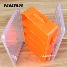 High Strength Transparent Plastic Fishing Tackle Box For Fishing Lure Orange Two Side Open Fishing Spoons Accessories(China (Mainland))
