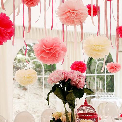 5PCS Handmade 6''(15CM) Tissue Paper Pom Poms Paper Flower Ball Pompom For Home Garden Wedding Birthday&Wedding Car Decoration(China (Mainland))